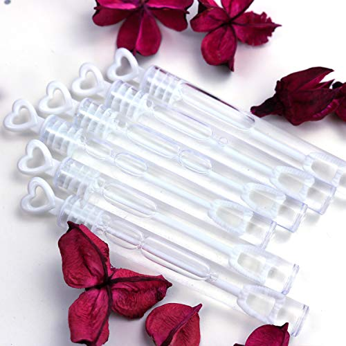 GiftExpress 96 pcs 4.2' White Heart Bubble Wands, Party Favors for Weddings Supplies, Valentine's Day, Party and Anniversaries (96 Pack)