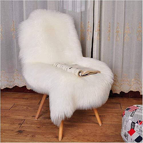 YJ.GWL Super Soft Fluffy Faux Fur Sheepskin Rug for Bedroom Sofa Seat Cover Living Room Shaggy Bedside Area Rugs Irregular 2' x 3' White