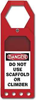 """Accuform TSS902 Plastic Secure-Status Tag Holder, Default Legend""""Danger DO NOT USE Scaffold OR Climber"""", 10"""" Length x 3-1/2"""" Width x 3/8"""" Thickness, Red"""