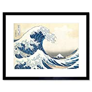 Wee Blue Coo Hokusai Great Wave off Kanagawa Artwork Framed Wall Art Print 12X16 Inch