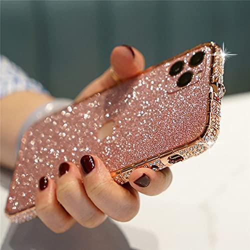 Funda Protectora de Metal con Diamantes de imitación, Funda para teléfono con Purpurina y Diamantes para iPhone SE 2020 6S 7 8 Plus X XR XS 11 12 Pro MAX 12 Mini Funda, Oro Rosa, para iPhone 11 Pro