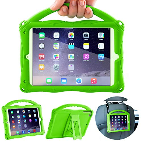 Adocham Kids Case for iPad Mini 5 4 3 2 1, Lightweight and Full-Body Shockproof Silicone Case Cover with Built-in Foldable Kickstand and Grip Handle (Green-1)