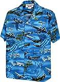 Pacific Legend USA Fighter Planes Mens Cotton Shirt Blue L