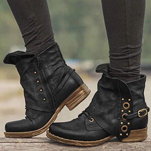 Damen Stiefeletten Boots mit Blockabsatz Ankle Boots Stiefeletten Biker Boots Cowgirl Western Cowboystiefel Spitz Zehen Halbhohe Stiefel Frauen Westernstiefel Heel Mid Ankle Boots (Schwarz, 42)