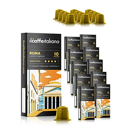 Il Caffé Italiano Coffee, Capsules Compatible with Nespresso OriginalLine, Certified Genuine Roma Roma Strong Intensity Pack, 100 Espresso Pods, Crafted in Sicily