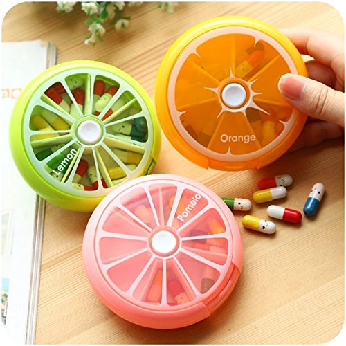 Auch Portable Rotating 7 Day Weekly Pill Organizer Travel Medicine Tablet Holder Storage Case Box Dispenser, Cute Fruit Style, Pack of 3 (Orange/Lemon/Pomelo)