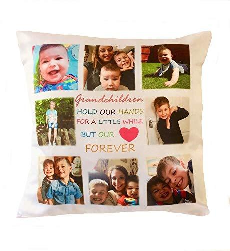 Cojín de fotos personalizable, 8 fotos collage de abuelos, regalo para abuelos y abuelos, de lino y algodón, decoración para el hogar, fundas de almohada para sofá, cuadrado, 45,7 x 45,7 cm