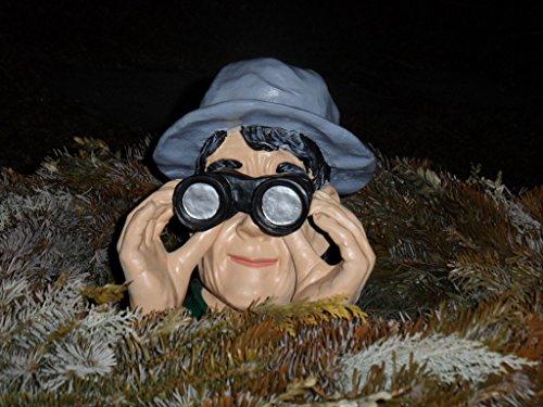 Arbrikadrex Skulptur Garten Jäger Fernglas Gartenfigur Deko Beobachter Figur Spanner Spion
