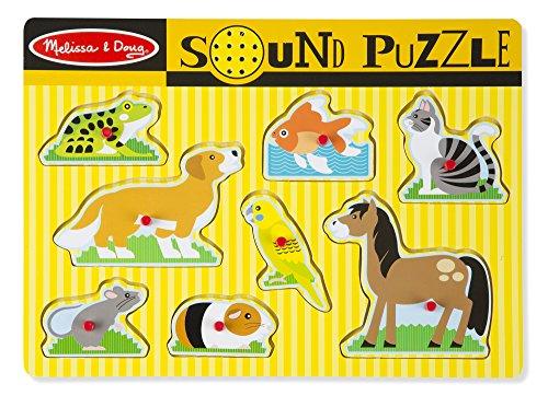 Melissa & Doug- Puzzle Sonoro con Animali Domestici in Legno con Pioli, 8 Pezzi, 10730
