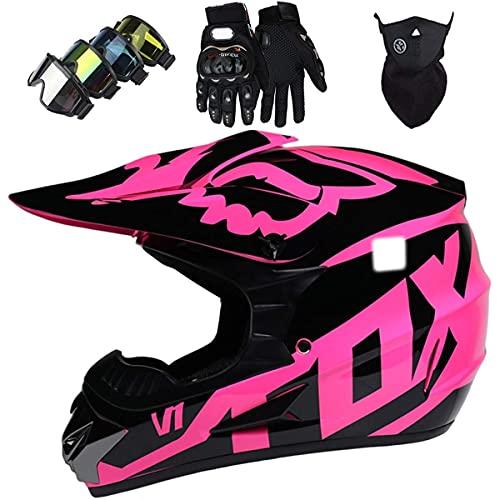 NNYY Casco de motocross para niños, casco de motocicleta con gafas/guantes/máscara, casco de moto Fox juventud, rosa, XL (58 ~ 59 cm)
