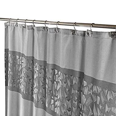 """Brushed Nickel Decorative Fabric Shower Curtain with Free Magnetic PEVA Liner 72"""" x 72"""" Heavy Duty, Mildew Resistant & Rust Proof Soft Touch Waterproof Polyester Bathroom Curtain (Silver)"""