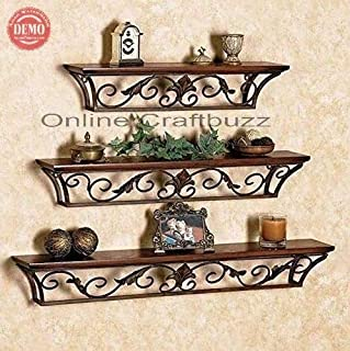 Online Craftbuzz Floating Shelves Wall Mounted Set of 3,Wood and Iron Wall Shelves for Bedroom, Living Room, Bathroom, Kit...