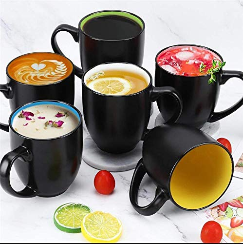 Octa Store Glossy Black Multi Color Ceramic Coffee Mug Microwave Safe Coffee/Milk Mug with Handle Ideal Best Gift for Friends, Anniversary, Birthday (Set of 6, 280 ML)