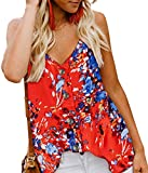 Angerella Women's Summer Floral Print V Neck Strappy Tank Tops Loose Casual Sleeveless Shirts Blouses Orange,L