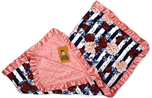 Dear Baby Gear Baby Blankets, Red Roses, Blush Hibiscus Navy White Stripes, Coral Minky, 32 Inches by 32 Inches