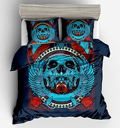 MGORJGR Black and White 3D Skull Bedding Duvet Cover Set Pillow Shams Kids Touched Twin Full Queen King Size 1 Quilt Cover 2 Pillowcase