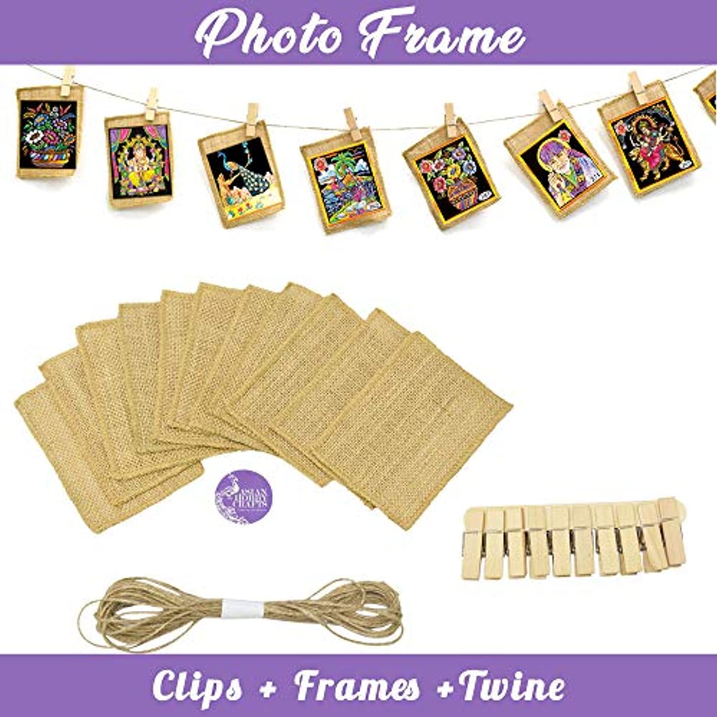 Asian Hobby Crafts Wooden Photo Hanging Clips (15 pcs) and Jute Picture Frame Cut Outs 5 x 4 inch (12 pcs) with Jute Twine (11 Yards) for Photo Hanging Display, DIY Crafts
