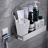 RUICER Duschablage Ohne Bohren mit Rasiererhalter Duschkorb Selbstklebend Duschablage Edelstahl für Badezimmer