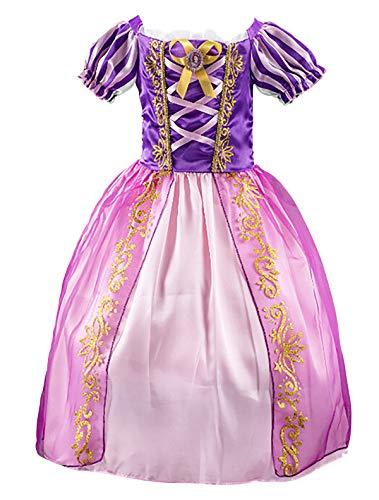 Eleasica Niña Princesa Rapunzel Vestido de Disfraz Niños Vestido de Princesa Cumpleaños Regalo Navidad Halloween Cosplay para Carnaval Parte Ceremonia Morado 3-8 Años