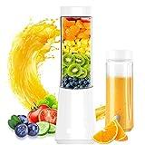 KOKO Exprimidor Mini Exprimidor portátil para el hogar Máquina de alimentos multifunción Taza de jugo Taza doble Taza de jugo Puede batir Mijo Blanco-White