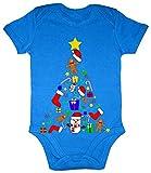 Hariz Baby Body de manga corta Árbol de Navidad Collage Navidad Nieve amor Plus tarjeta de regalo Royal Reyes Azul 0 – 3 meses
