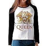 クイーン Queen Band ロゴ レディース Tシャツ ラグラン 長袖 クルーネック ベースボールシャツ 吸汗速乾 無地 カジュアル スポーツ トップス
