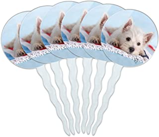 GRAPHICS & MORE West Highland Terrier Westie Puppy Dog Beach Towel Cupcake Picks Toppers Decoration Set of 6