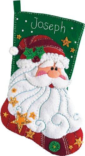 DIMENSIONS Jolly Santa Wool Felt Christmas Stocking Kit, 18'' H