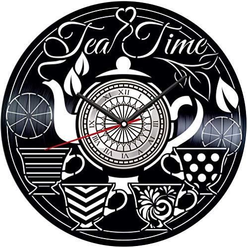 TJIAXU Reloj de Pared con Disco de Vinilo Tea Time, decoración única para el hogar, Regalo Hecho a Mano para Hombres, Mujeres, Amigos, niños