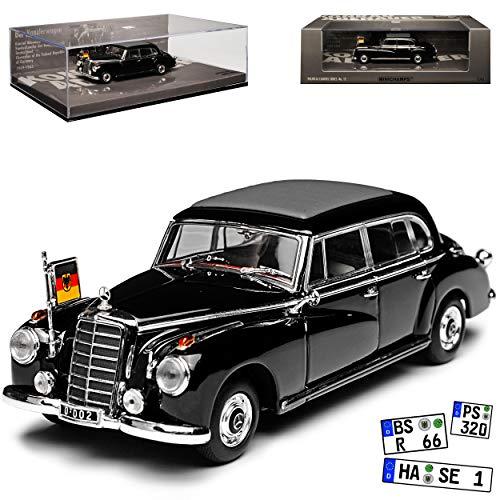 Minichamps Mercedes-Benz 300d W189 Konrad Adenauer mit Flagge 1957-1962 1/43 Modell Auto mit individiuellem Wunschkennzeichen