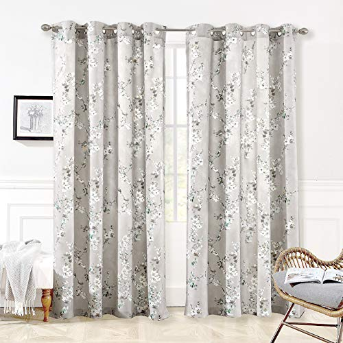 DriftAway Mackenzie Thermal Room Darkening Grommet Unlined Window Curtains Blossom Floral Pattern 2 Panels 50 Inch by 84 Inch Blue Gray