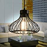 Xindaxin Rétro Metal Suspension Noir Cage E27 Suspension Industrielle Lampe Vintage Pendante...