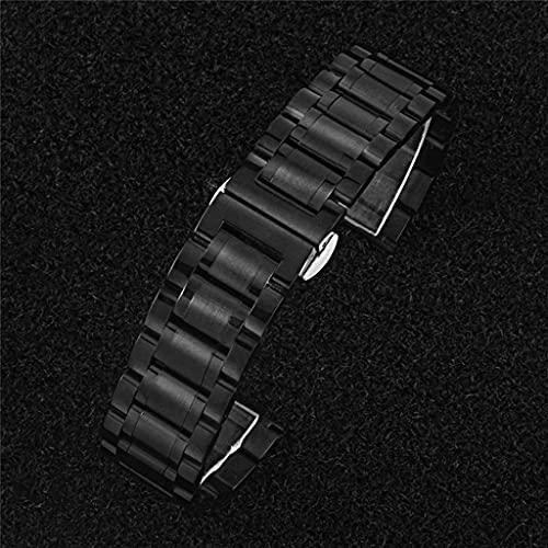 Diaod Correas de Reloj de Acero Inoxidable sólido Plata Oro Negro 16 mm 18 mm 20 mm 22 mm 24 mm Correa de Reloj de Metal Correa Relojes de Pulsera Pulsera (Color : Black, Size : 20mm)