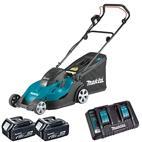 Makita DLM431PT2 18v/36v LXT Cordless Lawn Mower with 2 x 5.0Ah Batteries & DC18RD Dual Port Charger