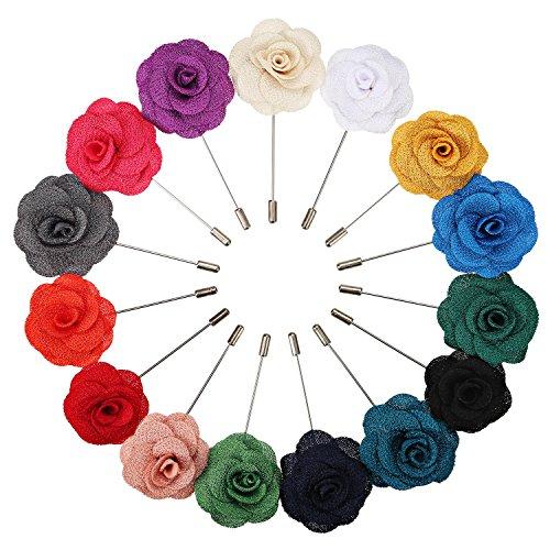 15 Piezas de Broches de Solapa de Hombre Alfileres de Flor de Camelia Hechos a Mano para Novio de Boda, 15 Colores