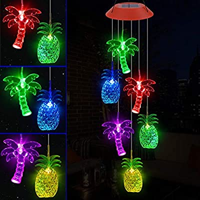 YMXBL Palm Tree Pineapple Wind Chime Solar Color Changing Palm Trees Wind Chimes Outdoor Decorative Waterproof Solar Powered Pineapple Light Romantic Wind Chime Gifts for Women Home Patio Garden Decor