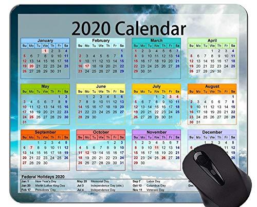 Kalender 2020 mit Feiertags-kundenspezifischer ursprünglicher Mausunterlage, schöne sternenklare Himmel-Büro-Mausunterlage