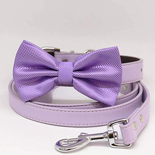 Lilac dog bow tie collar, dog collar, leather, Lavender bow tie collar, dog of honor, dog ring bearer