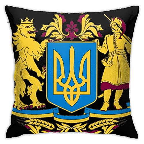 jhgfd7523 Throw Pillow Cover Coat of Arms of Ukraine Decorative Pillow Case Home Decor Square 18x18 Inches Pillowcase