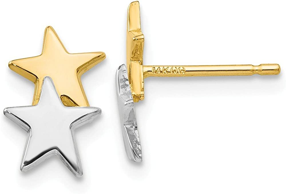 14k Yellow Gold Star Post Stud Earrings Ball Button Celestial Fine Jewelry For Women Gifts For Her