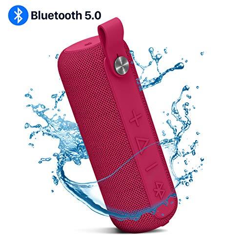 Argus Le Mobiler Bluetooth Lautsprecher Boxen für Handy IPX5 Wasserdicht, USB Charge, Tragbar Kabellos BT Speaker, Kraftiger Bass 360° Stereo Sound, 10M Reichweite, Eingebautes Mikrofon - Rot