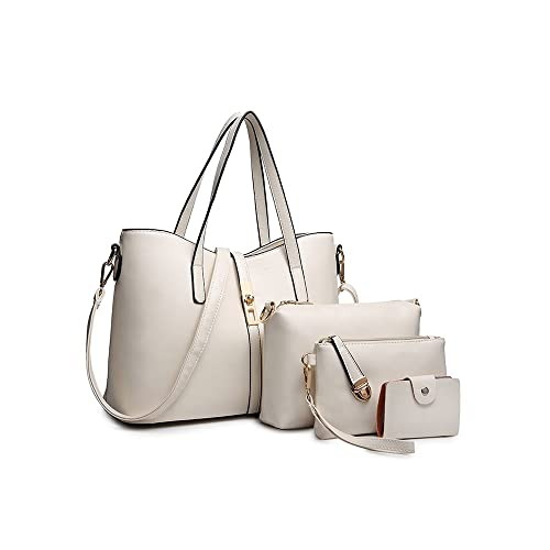 f889baa5c1 SIFINI Women Fashion PU Leather Handbag+Shoulder Bag+Purse+Card Holder 4pcs  Set