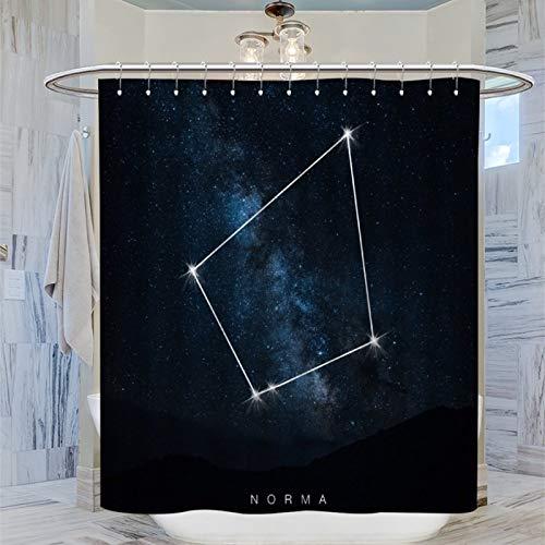 AFGGOL Raumkonstellationen Norma Polyester-Stoff Badezimmer Dekoration Duschvorhang mit Haken Sternenhimmel Polyester Duschvorhang Polyestergewebe Wasserdicht 183 x 183 cm