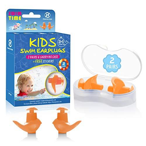 Hearprotek Ohrstöpsel Schwimmen Kinder, 2 Paar wasserdichte Wiederverwendbare Silikon Ohrstöpsel für Schwimmer beim Duschen beim Surfen und Anderen Wassersportarten (Orange)