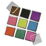 RAYHER Stempelkissen Set mit 9 Farben, je 3,5 x 3,5 cm -