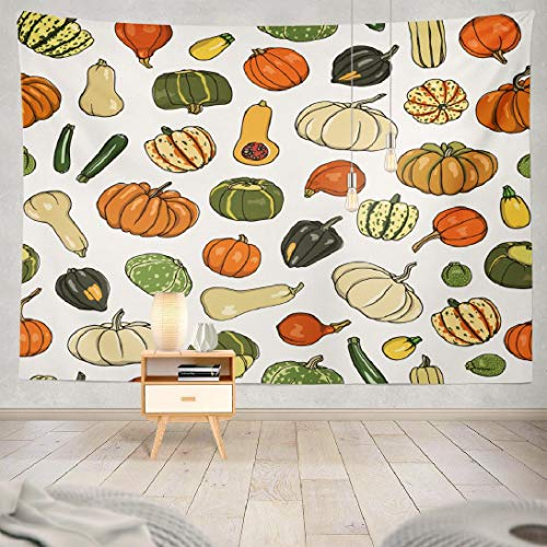Lshtar Pumpkin Tapestry Seamless Pattern Hand Drawn Pumpkins Zucchini Drawing Beautiful Vegetarian Tapestry for Bedroom(80x60inches)(200x150cms)