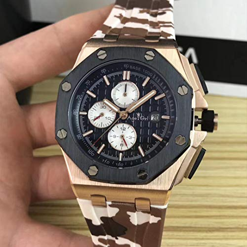 HHBB Hombres de lujo mecánico automático zafiro cristal robles oro rosa negro café caucho acero inoxidable reloj