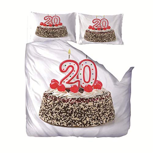 empty 3 Pieces Bedding 3D Birthday Cake Pattern Printed 200x200cm Zipper Closure Duvet Cover with 2x50x75cm pillow case Soft Microfiber Quilt Cover Set for Child adult