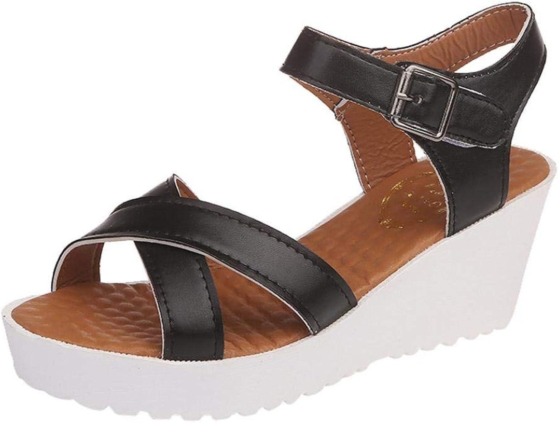 JaHGDU Fashion Women Sandals Stylish Vintage Casual Wild Breathable Summer Boom shoes Wedges Weave Middle Heel Sandals