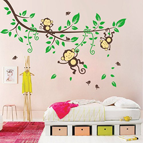 Pegatina de pared extraible e impermeable - Mono lindo y árbol -...
